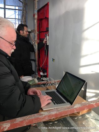 setting up the blower door test station - Christian Guida, Gianni Giavarini
